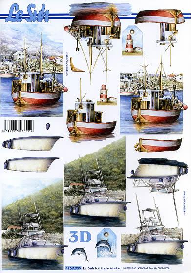 3D Bogen Schiffe - Format A4,  Regionen - Strand / Meer - Schiffe,  Le Suh,  3D Bogen,  Segelschiff,  Boote,  im Hafen