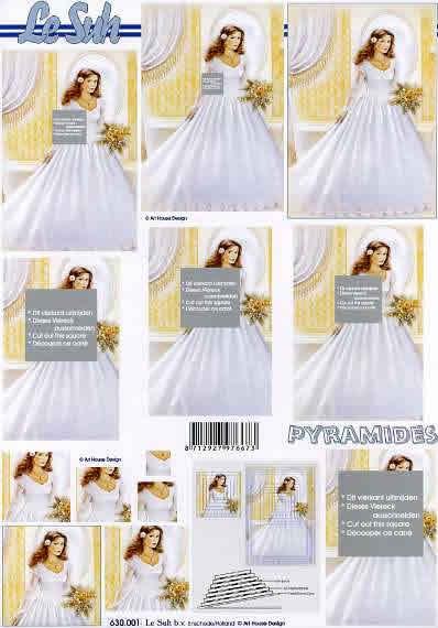 3D Bogen Pyramides - Format A4,  Menschen - Personen,  Le Suh,  3D Bogen,  Pyramides,  Braut mit Strauß