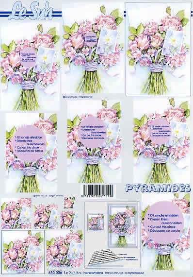3D Bogen Pyramides - Format A4,  Blumen - Rosen,  Le Suh,  3D Bogen,  Pyramides,  Rosenstrauß
