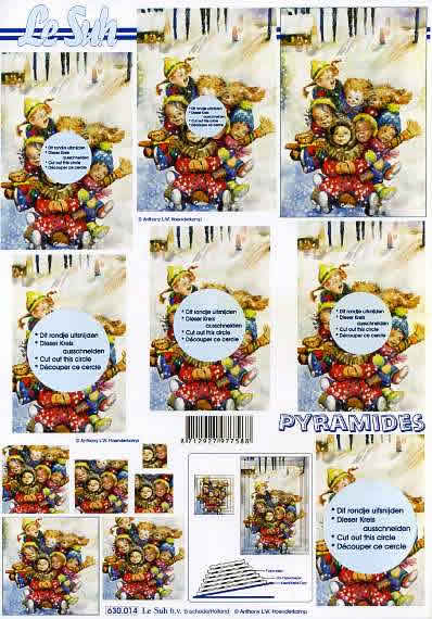 3D Bogen Pyramides - Format A4,  Winter - Schnee,  Le Suh,  3D Bogen,  Pyramides,  Kinder auf Schlitten