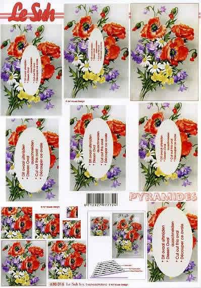 3D Bogen Pyramides - Format A4,  Blumen - Magariten,  Le Suh,  3D Bogen,  Pyramides,  Blumenstrauß
