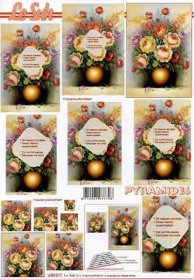 3D Bogen Pyramides - Format A4,  Sonstiges -  Sonstiges,  Le Suh,  3D Bogen,  Pyramides,  Blumen in der Vase