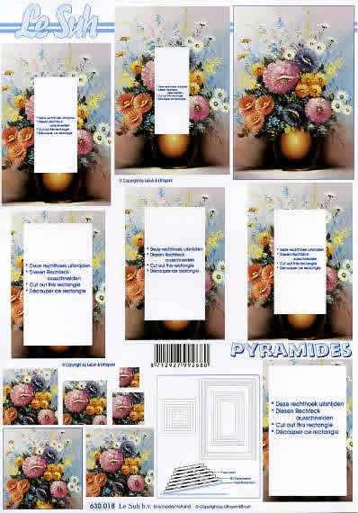 3D Bogen Pyramides - Format A4,  Blumen - Rosen,  Le Suh,  3D Bogen,  Pyramides,  Blumenstrauß