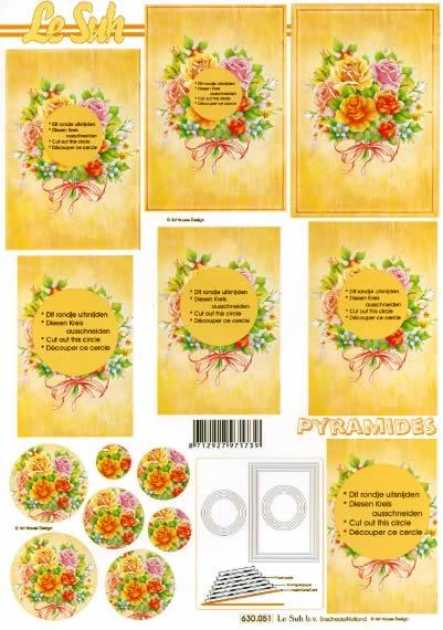 3D Bogen Pyramides - Format A4,  Blumen -  Sonstige,  Le Suh,  3D Bogen,  Pyramides,  Rosenstrauß