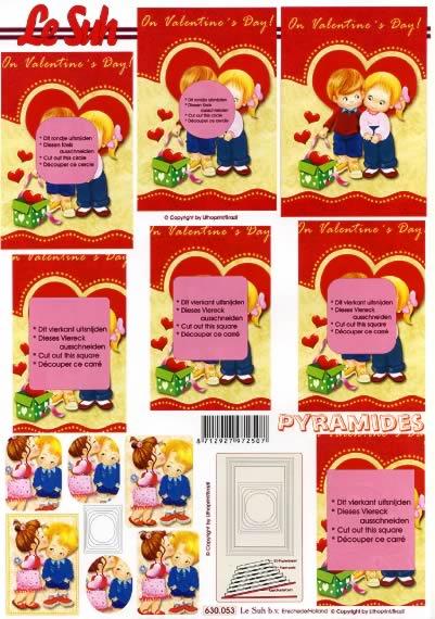 3D Bogen Pyramides - Format A4,  Ereignisse - Liebe,  Le Suh,  3D Bogen,  Pyramides Herzen