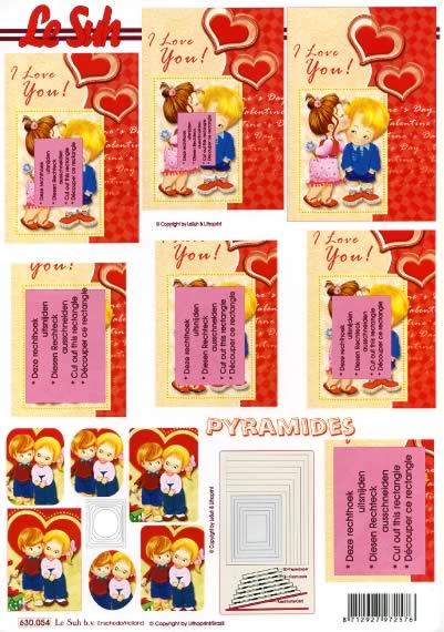 3D Bogen Pyramides - Format A4,  Ereignisse - Liebe,  Le Suh,  3D Bogen,  Liebe,  Jungen,  Mädchen