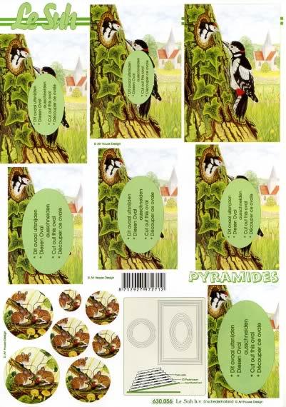3D Bogen Pyramides - Format A4,  Tiere - Vögel,  Le Suh,  3D Bogen,  Pyramides Specht im Baum,  Mäuse