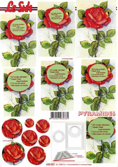 3D Bogen Pyramides - Format A4,  Le Suh,  Le Suh,  3D Bogen,  Pyramides Rote Rosen