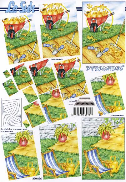 3D Bogen Pyramides - Format A4,  Blumen -  Sonstige,  Le Suh,  3D Bogen,  Gartenwekzeug,  Gießkanne,  Liegestuhl,  Pyramides