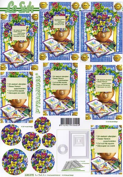 3D Bogen Pyramides - Format A4,  Blumen -  Sonstige,  Le Suh,  3D Bogen,  Veilchen in der Vase,  Pinsel,  Maltafel,  Farben,  Pyramides