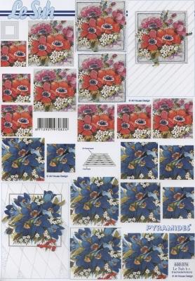 3D Bogen Pyramides - Format A4,  Blumen,  Le Suh,  3D Bogen,  Pyramides,  Rote und Blaue Blumen
