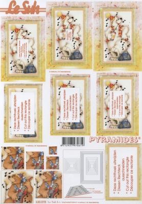 3D Bogen Pyramides - Format A4,  Ereignisse - Feier,  Le Suh,  3D Bogen,  Pyramides, Bären machen Musik