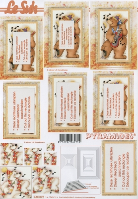 3D Bogen Pyramides - Format A4,  Tiere,  Le Suh,  3D Bogen,  Pyramides,  Bären musizieren