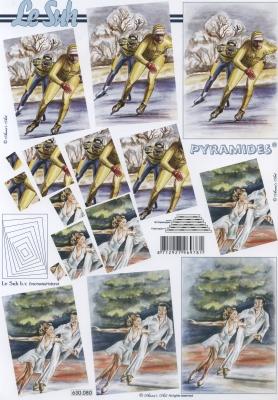 3D Bogen Pyramides - Format A4,  Menschen - Personen,  Le Suh,  3D Bogen,  Pyramides,  Eisläufer Paar
