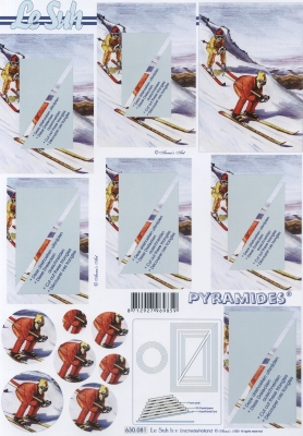 3D Bogen Pyramides - Format A4, Sport,  Menschen - Personen,  Le Suh,  3D Bogen,  Personen,  Schnee