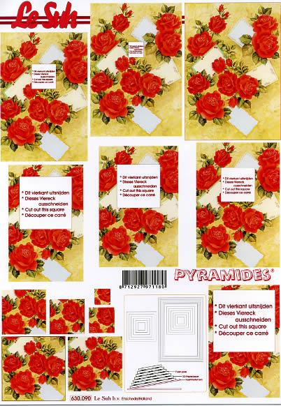 3D Bogen Pyramides - Format A4,  Blumen,  Le Suh,  3D Bogen,  Pyramides,  Rote Rosen