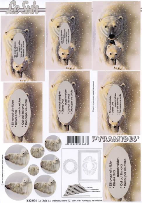 3D Bogen Pyramides - Format A4,  Tiere,  Le Suh,  3D Bogen,  Pyramides,  Eisbären