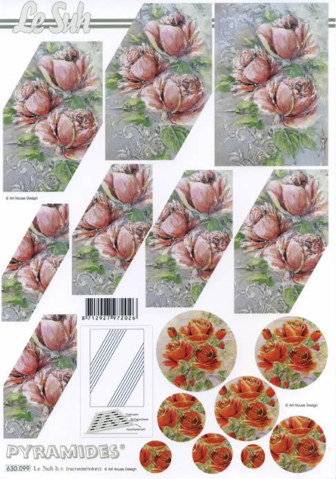 3D Bogen Pyramides - Format A4,  Blumen - Rosen,  Le Suh,  3D Bogen,  Rosen