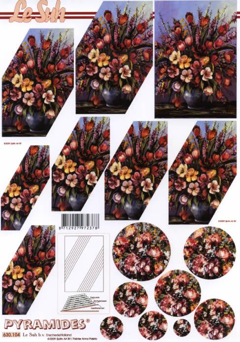 3D Bogen Pyramides - Format A4,  Blumen -  Sonstige,  Le Suh,  3D Bogen,  Pyramides,  Frühlingsstrauß in der Vase