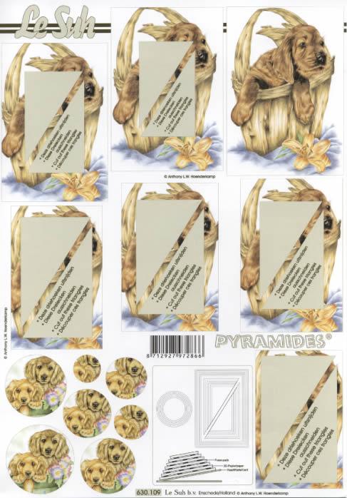 3D Bogen Pyramides - Format A4,  Tiere,  Le Suh,  3D Bogen,  Pyramides,  Hund im Körbchen,  Lilien,  Primeln