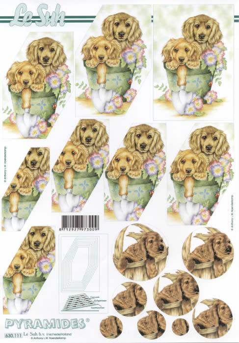 3D Bogen Pyramides - Format A4,  Tiere,  Le Suh,  3D Bogen,  Pyramides,  Hunde im Blumentopf,  im Körbchen