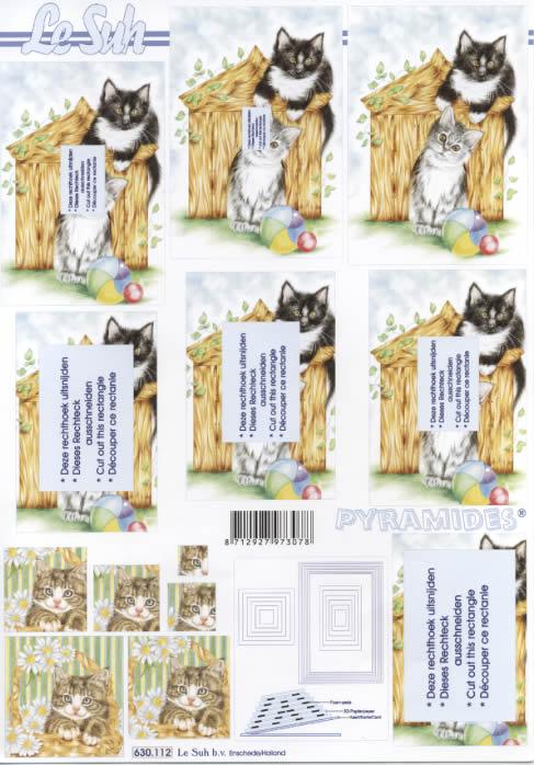 3D Bogen Pyramides - Format A4,  Tiere - Katzen,  Le Suh,  3D Bogen,  Katzen