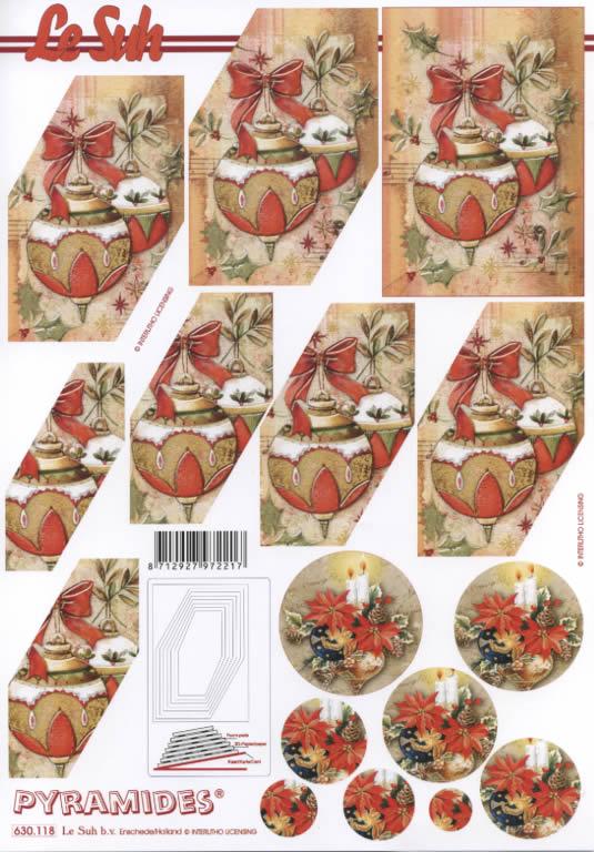 3D Bogen Pyramides - Format A4,  Blumen,  Le Suh,  3D Bogen,  Pyramides,  Baumkugeln,  Kerzen,  Adventsgesteck