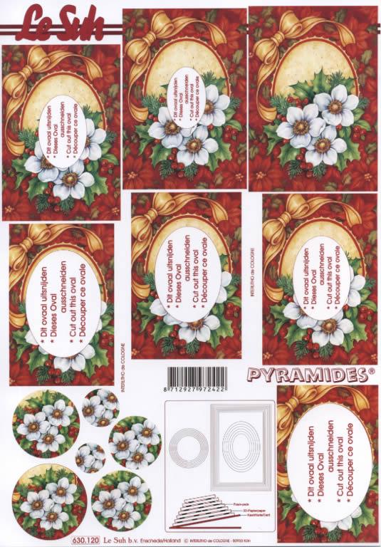 3D Bogen Pyramides - Format A4,  Blumen - Christrosen,  Le Suh,  3D Bogen,  Pyramides,  Weihnachtsblumen,  Ilex