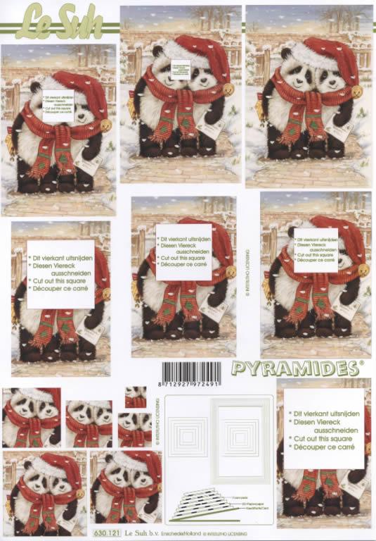 3D Bogen Pyramides - Format A4,  Winter - Schnee,  Le Suh,  3D Bogen,  Pyramides,  Pandabären mit Mütze und Schaal
