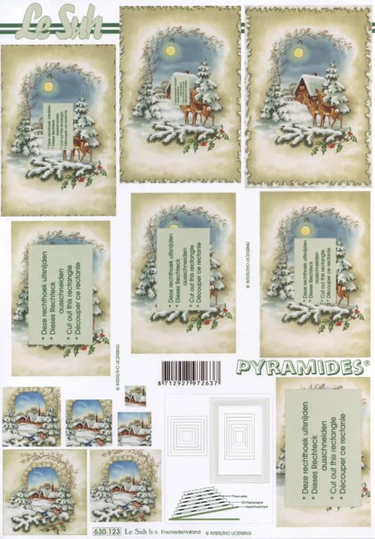 3D Bogen Pyramides - Format A4,  Tiere,  Le Suh,  3D Bogen,  Pyramides,  Tiere im Verschneiten Wald,  Ilex,  Tannenzweig,  Vögel,  Winterdorf