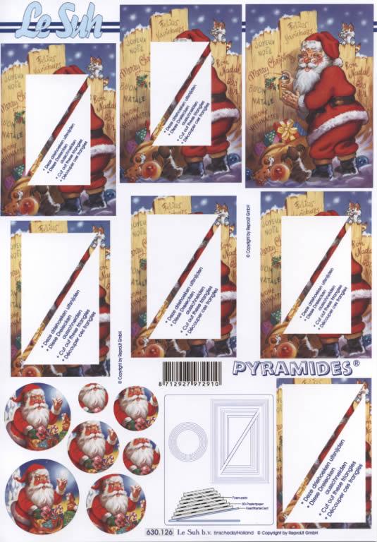 3D Bogen Pyramides - Format A4,  Weihnachten - Weihnachtsmann,  Le Suh,  3D Bogen,  Pyramides,  Katze,  Hund,  Weihnachtsmann mit Geschenken