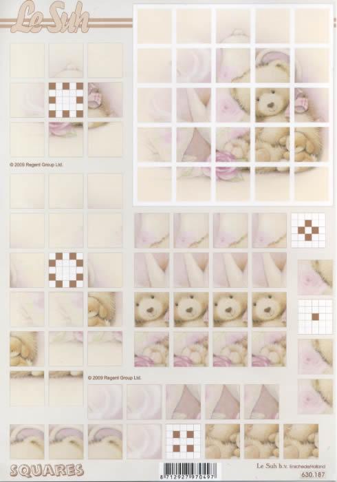 3D Bogen Squares - Format A4,  Spielsachen - Stofftiere,  3D Bogen,  Teddybären