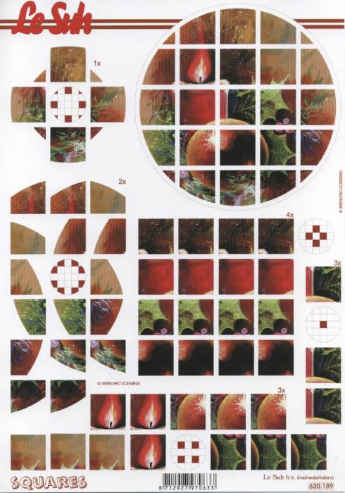 3D Bogen Squares - Format A4,  Weihnachten - Kerzen,  3D Bogen