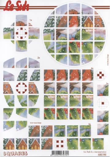 3D Bogen Squares - Format A4,  Tiere - Vögel,  3D Bogen