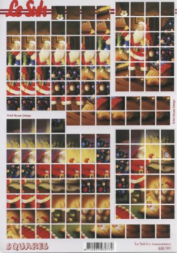 3D Bogen Squares - Format A4,  Weihnachten - Weihnachtsmann,  3D Bogen