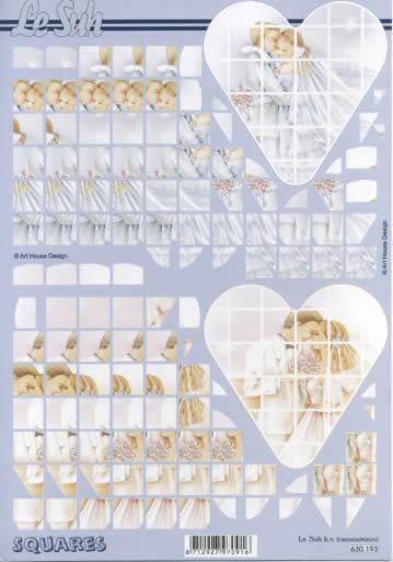 3D Bogen Squares - Format A4,  Ereignisse - Hochzeit,  3D Bogen