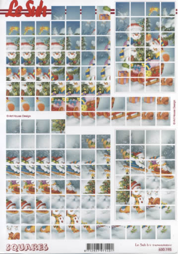3D Bogen Squares - Format A4,  Winter - Schneemänner,  3D Bogen