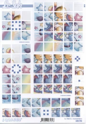 3D Bogen Squares - Format A4,  Menschen - Babys,  3D Bogen,  Baby