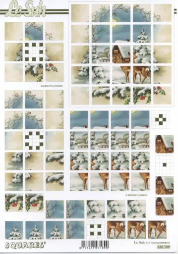 3D Bogen Squares - Format A4,  Winter - Schnee,  3D Bogen