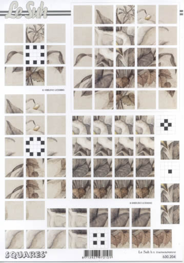 3D Bogen Squares - Format A4,  Blumen -  Sonstige,  3D Bogen