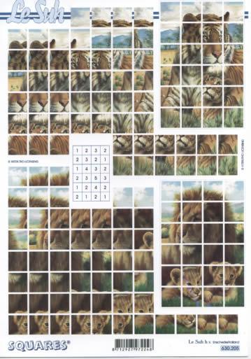 3D Bogen Squares - Format A4,  Tiere - Löwen,  3D Bogen