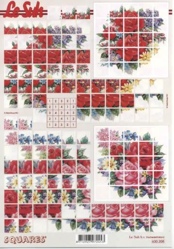 3D Bogen Squares - Format A4,  Blumen - Rosen,  Le Suh,  3D Bogen,  Rosen