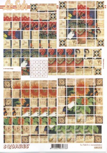 3D Bogen Squares - Format A4,  Blumen - Sonnenblumen,  3D Bogen