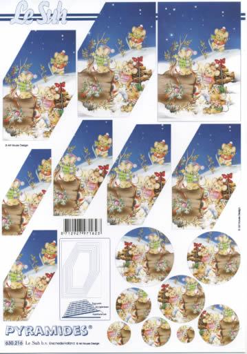 3D Bogen Pyramides - Format A4,  Winter - Schnee,  3D Bogen,  Mäuse