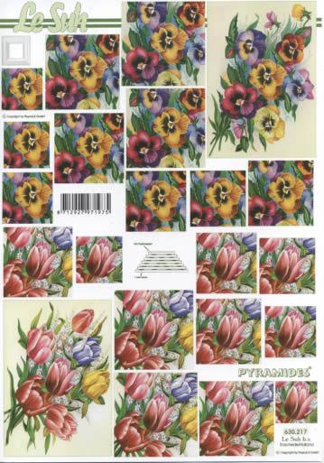 3D Bogen Pyramides - Format A4,  Blumen - Tulpen,  3D Bogen