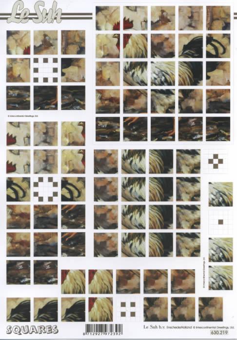 3D Bogen Squares - Format A4,  Tiere - Huhn / Hahn,  Le Suh,  3D Bogen