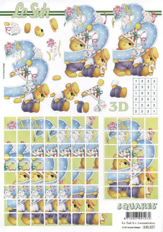 3D Bogen 3.Geburtstag Squares - Format A4,  Ereignisse - Geburtstag,  Le Suh,  3D Bogen,  Zahlen,  Teddybären,  Mäuse