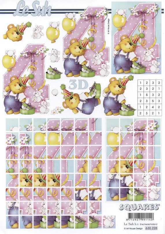 3D Bogen Pyramides - Format A4,  Ereignisse - Geburtstag,  Le Suh,  3D Bogen,  Zahlen,  Teddybären,  Mäuse