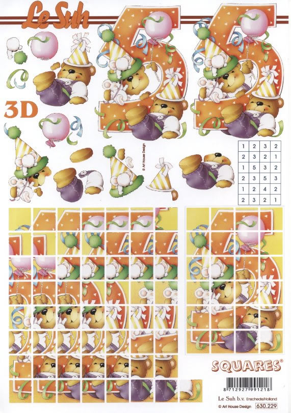 3D Bogen Pyramides - Format A4,  Spielsachen - Stofftiere,  Le Suh,  3D Bogen,  Zahlen,  Teddybären,  Mäuse