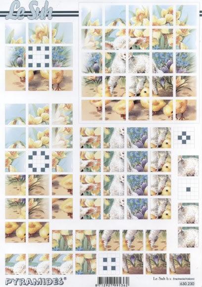 3D Bogen Pyramides - Format A4,  Frühjahr,  Le Suh,  3D Bogen,  Küken,  Lämmer